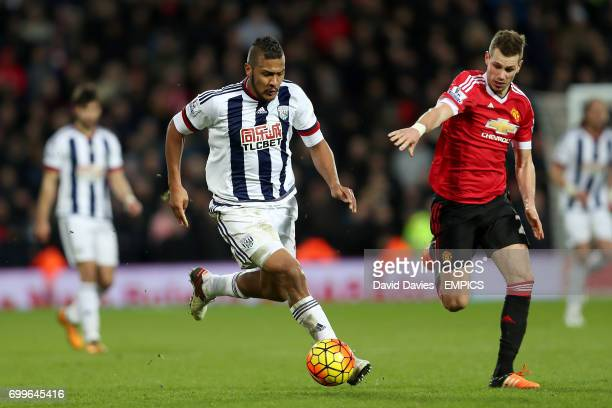 West Bromwich Albion's Jose Salomon Rondon and Manchester United's Morgan Schneiderlin battle for the ball