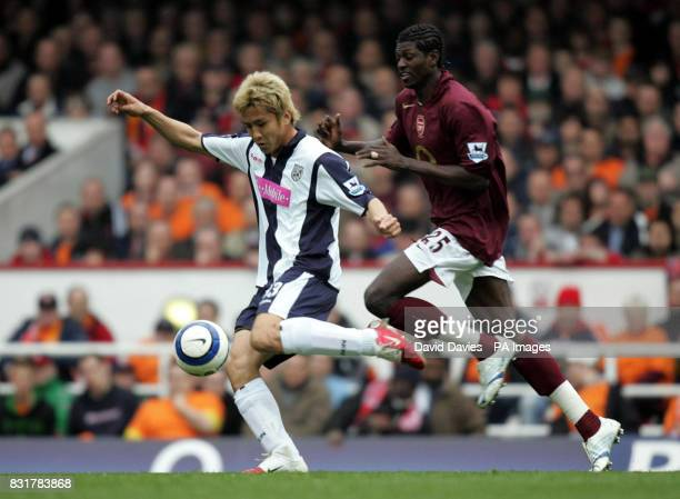 West Bromwich Albion's Junichi Inamoto under pressure from Arsenal's Emmanual Adebayor during the Barclays Premiership match at Highbury Stadium...