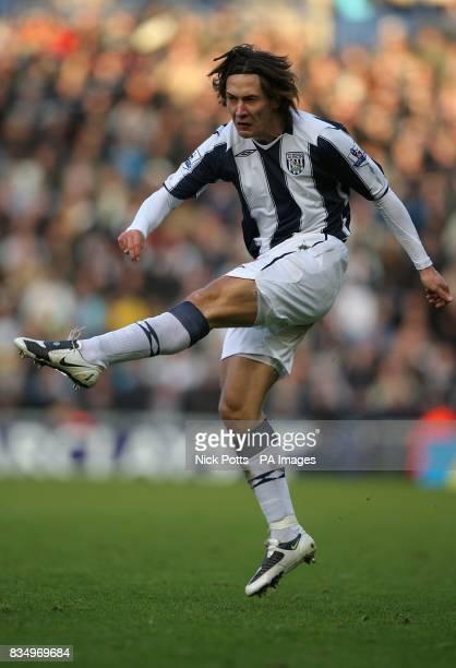 West Bromwich Albion's Marek Cech has a shot on goal