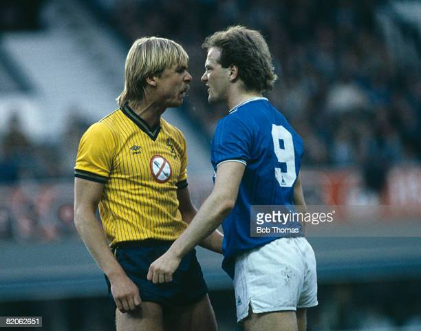 West Bromwich Albion's Martyn Bennett and Everton striker Andy Gray stand face to face in an angry confrontation during their First Division match at...