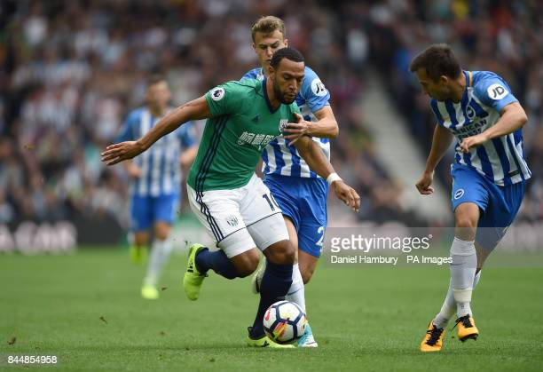 West Bromwich Albion's Matt Phillips runs at the Brighton Hove Albion defence during the Premier League match at the AMEX Stadium Brighton