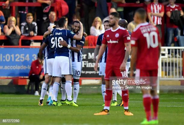 West Bromwich Albion's Matty Phillips celebrates scoring the second goal during the Carabao Cup Second Round match at the Wham Stadium Accrington