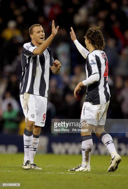 West Bromwich Albion's Roman Bednar and Marek Cech celebrate after the final whistle