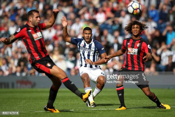 West Bromwich Albion's Salomon Rondon and AFC Bournemouth's Nathan Ake battle for the ball during the Premier League match at The Hawthorns West...