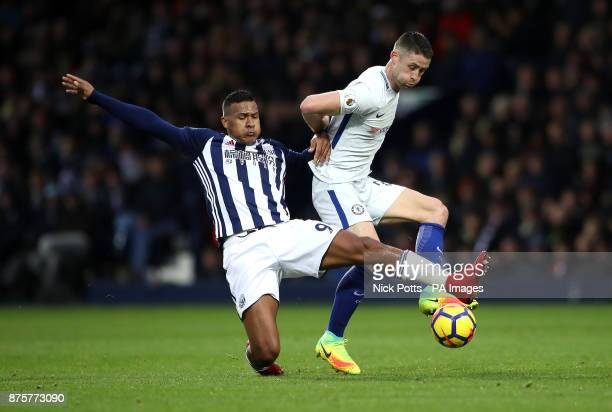 West Bromwich Albion's Salomon Rondon and Chelsea's Gary Cahill battle for the ball during the Premier League match at The Hawthorns West Bromwich