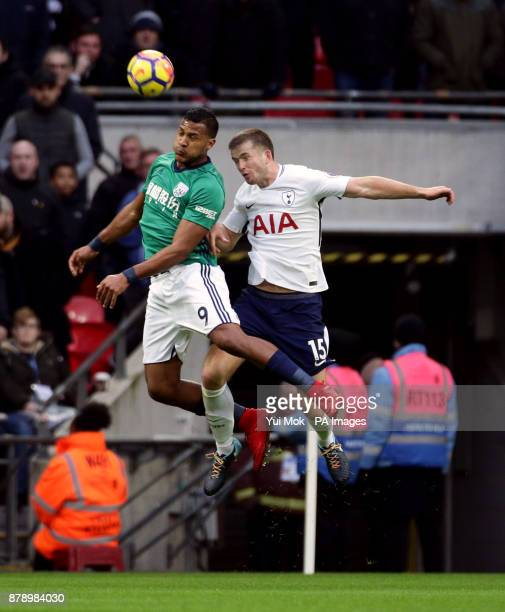 West Bromwich Albion's Salomon Rondon and Tottenham Hotspur's Eric Dier battle for the ball in the air during the Premier League match at Wembley...