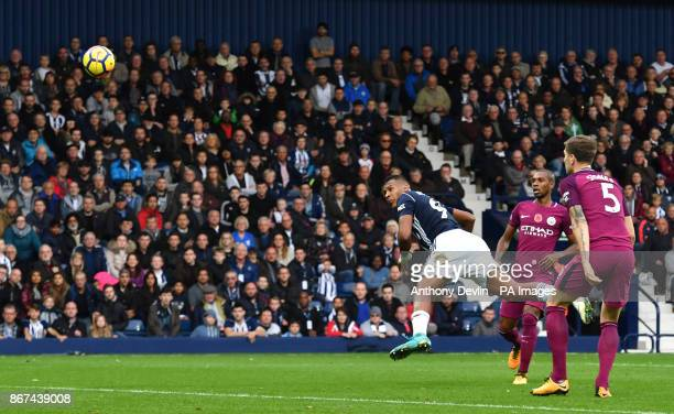 West Bromwich Albion's Salomon Rondon steers a header towards goal during the Premier League match at The Hawthorns West Bromwich