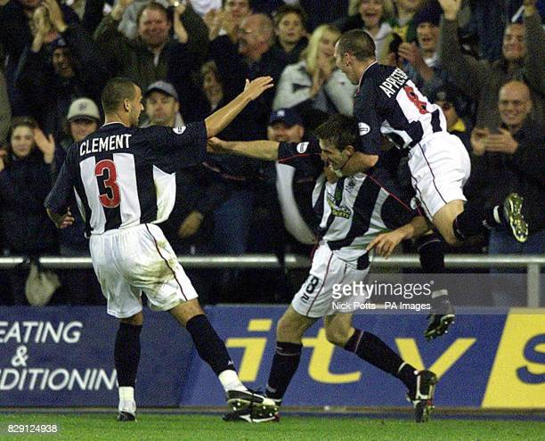 West Bromwich Albion's Scott Dobie celebrates after scoring his second goal with Neil Clement Michael Appleton during the Nationwide Division One...