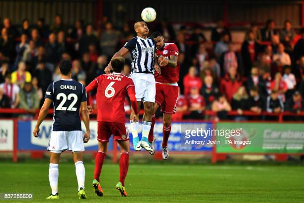 West Bromwich Albion's Solomon Rondon wins a header during the Carabao Cup Second Round match at the Wham Stadium Accrington