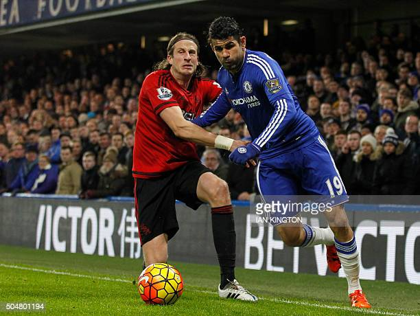 West Bromwich Albion's Swedish defender Jonas Olsson vies with Chelsea's Brazilianborn Spanish striker Diego Costa during the English Premier League...