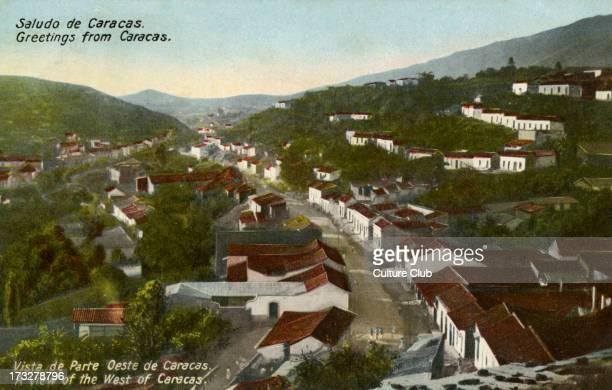 West Caracas Venezuela Colourised photograph from early 20th century Caption reads 'Saludo de Caracas'