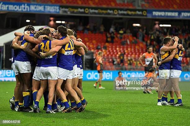 West Coast players celebrate victory during the round 21 AFL match between the Greater Western Sydney Giants and the West Coast Eagles at Spotless...