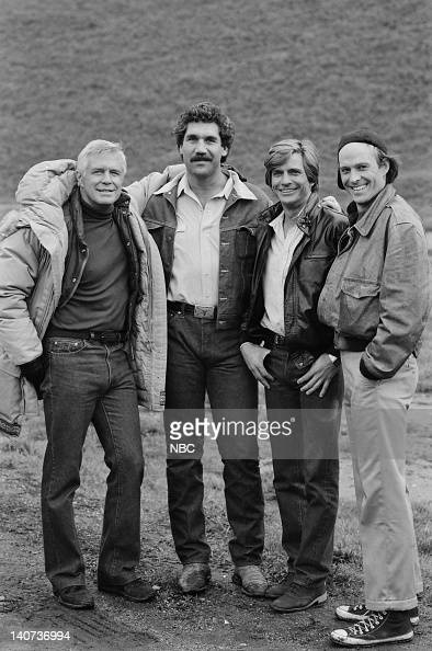 TEAM 'West Coast Turnaround' Episode 9 Pictured George Peppard as John 'Hannibal' Smith Tim Rossovich as Milt Dirk Benedict as Templeton 'Faceman'...