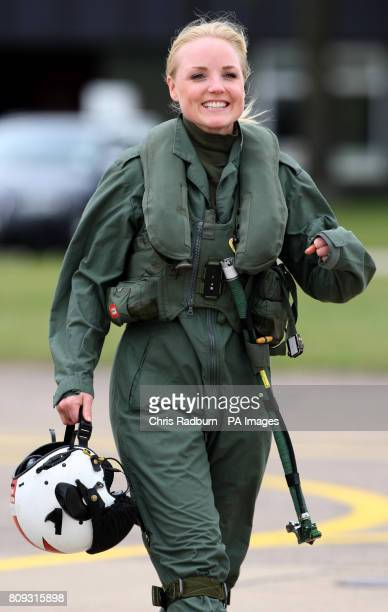 West End Actress Kerry Ellis arrives prior to flying in a training sortie with the Red Arrows at RAF Scampton in Lincolnshire