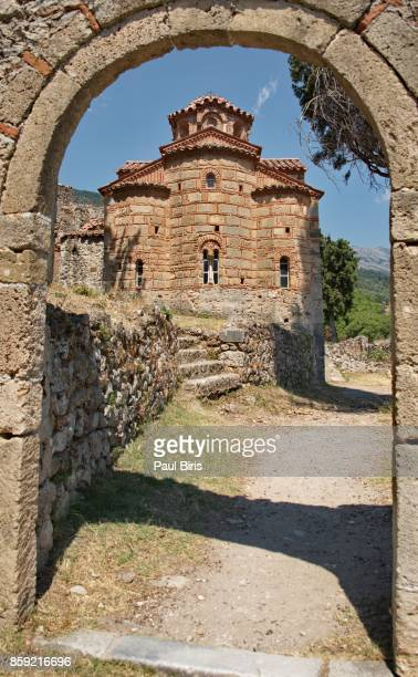 West facade from 1290-1296 of Agioi Teodori church in Brontochion Monastery, Mistra, Greece