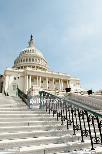 West front of the US Capitol Building from below : Stock Photo