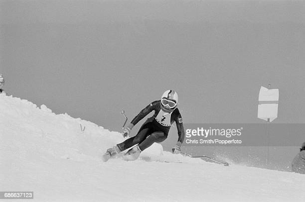 West German alpine skier Rosi Mittermaier pictured in training before competition to finish in first place to win the gold medal in the Women's...