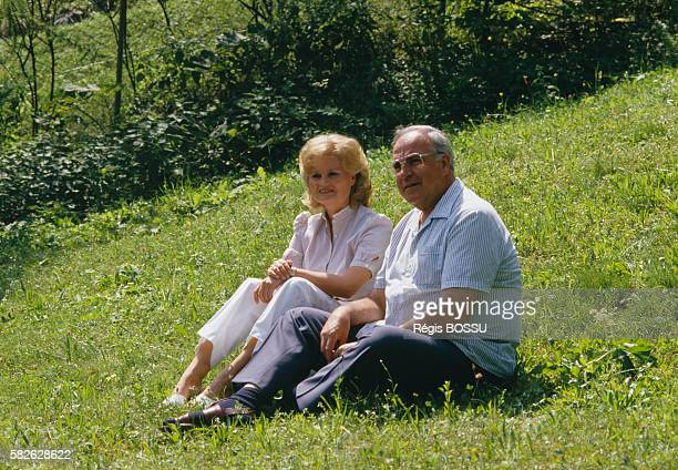 West German Chancellor Helmut Kohl and his wife Hannelore during their vacation in Saint Gilgen | Location Saint Gilgen Austria