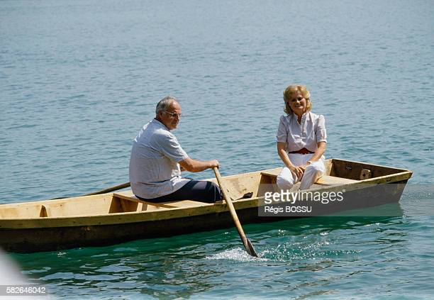 West German Chancellor Helmut Kohl and his wife Hannelore during their vacation in Saint Gilgen | Location Saint Gilgen Wolfgangsee Austria