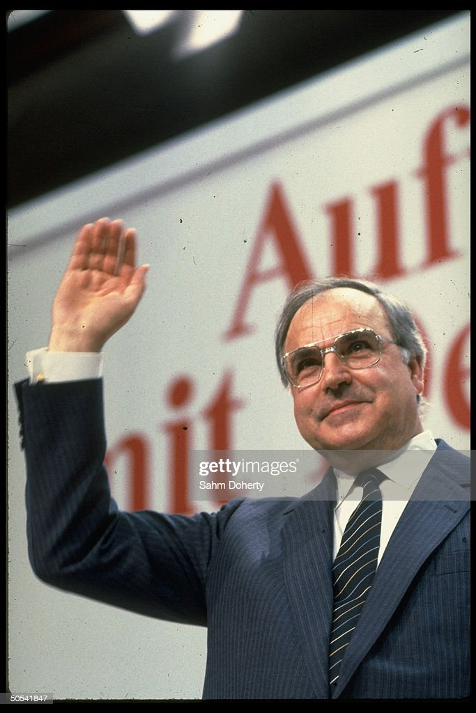 West German Chancellor Helmut Kohl campaigning for reelection
