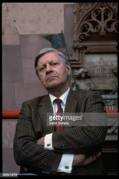 West German Chancellor Helmut Schmidt at Social Democratic Party rally
