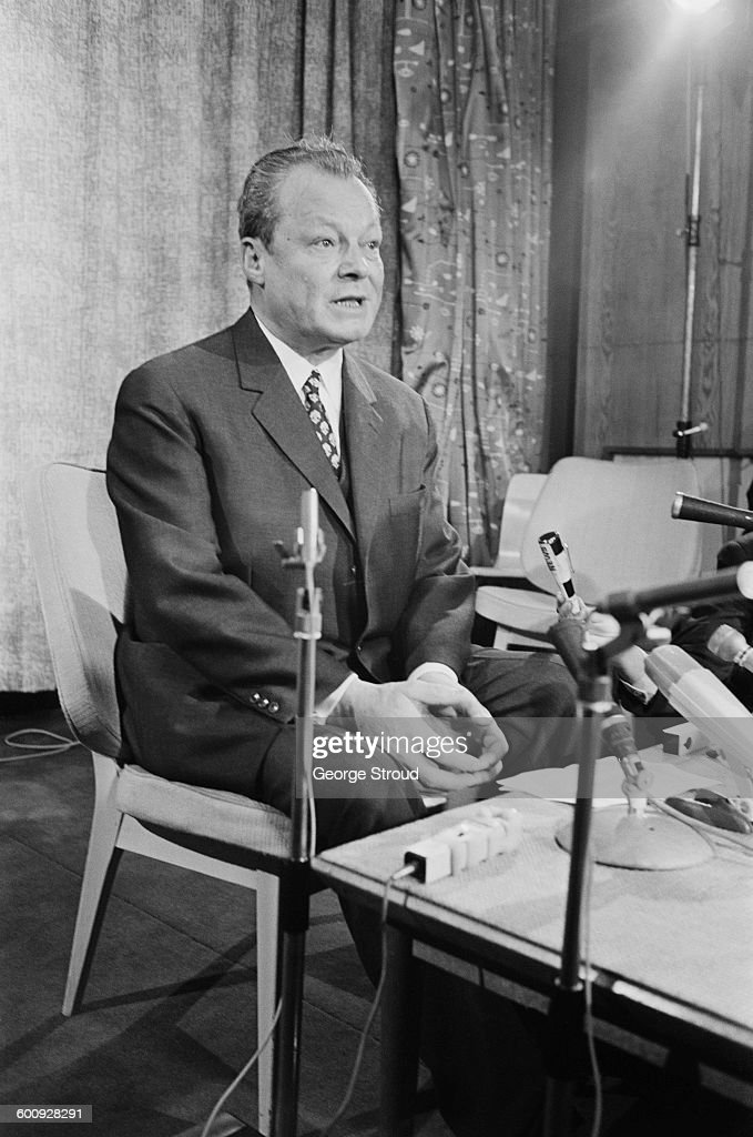 West German Chancellor <a gi-track='captionPersonalityLinkClicked' href=/galleries/search?phrase=Willy+Brandt&family=editorial&specificpeople=94253 ng-click='$event.stopPropagation()'>Willy Brandt</a> (1913 - 1992) during a press conference at London Airport, UK, 2nd March 1970.