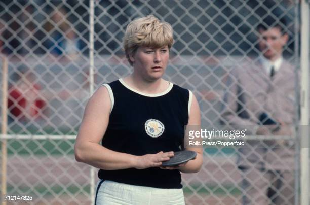 West German discus thrower Liesel Westermann pictured during competition at an Olympic trials athletics meeting in Berlin West Germany in August 1968...