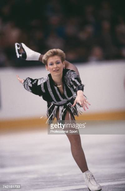 West German figure skater Claudia Leistner pictured in action on the ice to finish in first place to win the gold medal in the Ladies event at the...