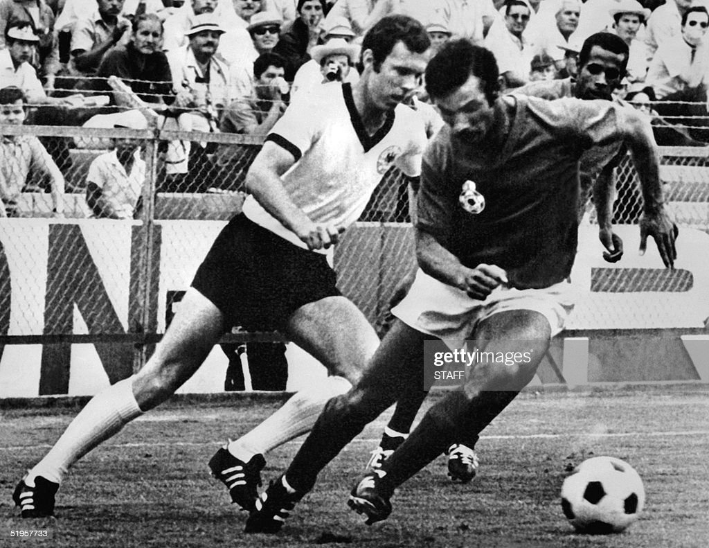 West German midfielder Franz Beckenbauer L fight