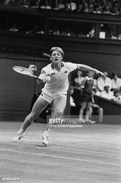 West German tennis player Boris Becker pictured in action to win his semifinal match against Swedish tennis player Anders Jarryd 26 76 63 63 in the...