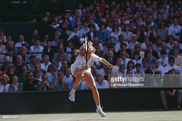 West German tennis player Steffi Graf pictured in action during progress to reach and win the final of the Ladies' Singles tournament at the...