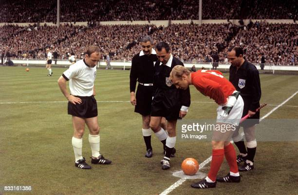 West Germany captain Uwe Seeler and England captian Bobby Moore before kick off
