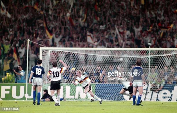 West Germany left back Andreas Brehme turns to celebrate after scoring the winning goal from the penalty spot during the 1990 FIFA World Cup Final...