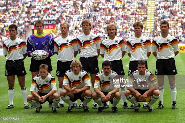 West Germany team group Thomas BertholdBodo Illgner Hans Pflugler Guido Buchwald Rudi Voller Stefan Reuter Klaus Augenthaler Thomas Hassler Jurgen...