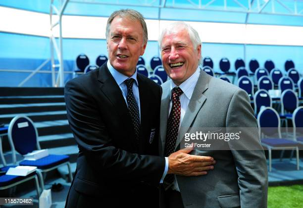 West Germany's 1966 World Cup Final goalkeeper Hans Tilkowski shares a joke with England hat trick hero Sir Geoff Hurst at the Foundation Ceremony of...