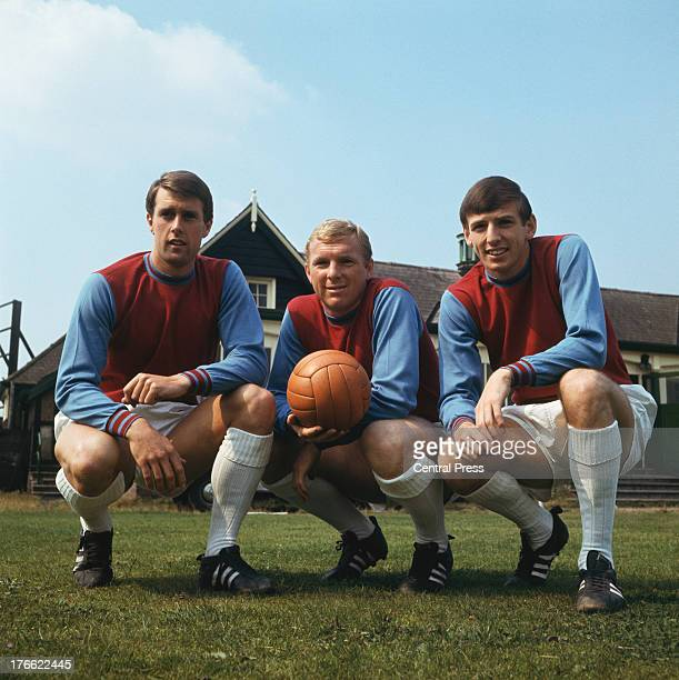West Ham and England footballers Geoff Hurst Bobby Moore and Martin Peters 1966 All three are members of the1966 World Cupwinning England team