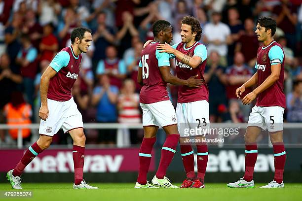 West Ham celebrate with Diafra Sakho of West Ham after he scores to make it 20 during the UEFA Europa League match between West Ham United and FC...