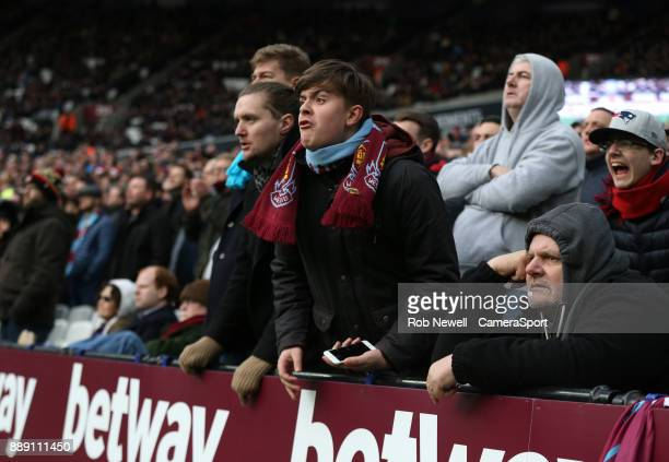 West Ham fans during the Premier League match between West Ham United and Chelsea at London Stadium on December 9 2017 in London England