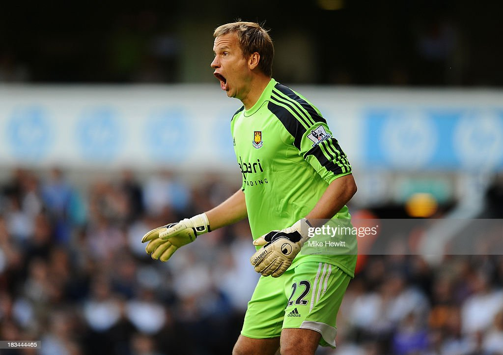West Ham goalkeeper <a gi-track='captionPersonalityLinkClicked' href=/galleries/search?phrase=Jussi+Jaaskelainen&family=editorial&specificpeople=240728 ng-click='$event.stopPropagation()'>Jussi Jaaskelainen</a> in action during the Barclays Premier League match between Tottenham Hotspur and West Ham United at White Hart Lane on October 6, 2013 in London, England.