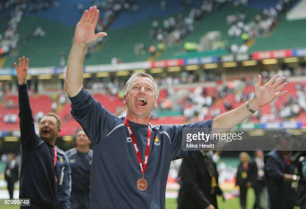 West Ham manager Alan Pardew salutes the Hammers fans after his team secured promotion to the Premiership in the CocaCola Championship PlayOff Final...