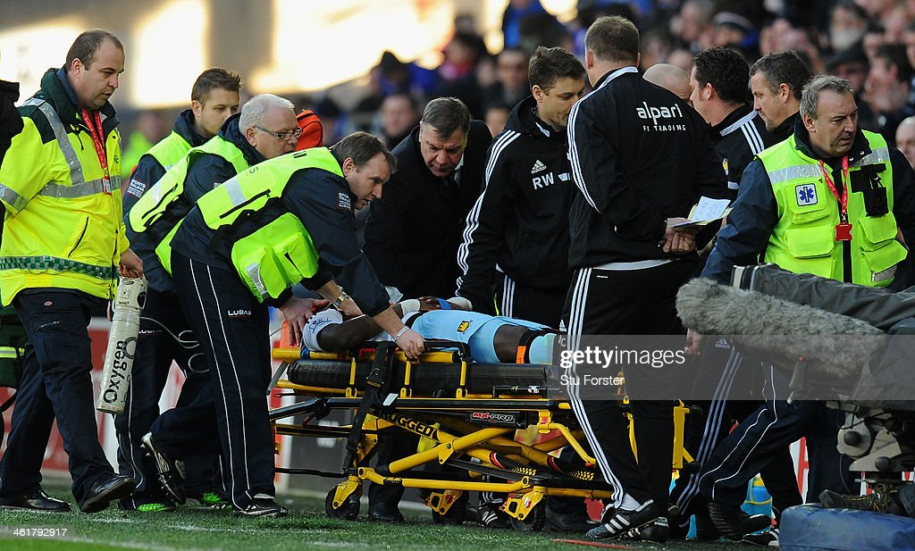 West Ham manager Sam Allardyce (c) checks on the wellbeing of player Guy Demel who is stretchered off during the Barclays Premier League match between Cardiff City and West Ham United at Cardiff City Stadium on January 11, 2014 in Cardiff, Wales.