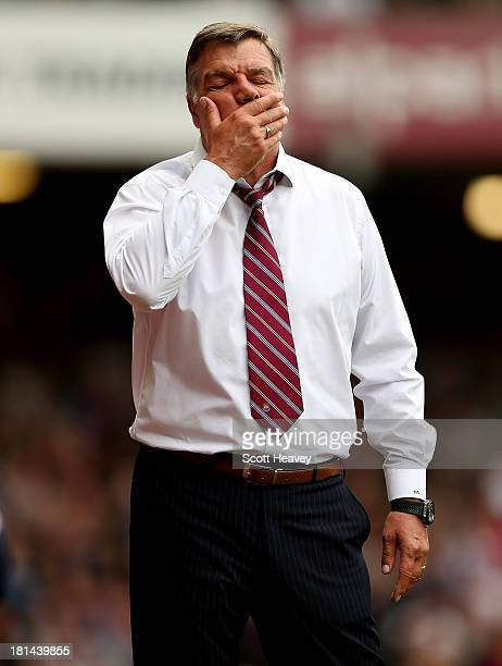 West Ham manager Sam Allardyce during the Barclays Premier League match between West Ham United and Everton at the Boleyn Ground on September 21 2013...