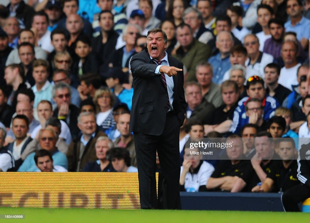 West Ham manager <a gi-track='captionPersonalityLinkClicked' href=/galleries/search?phrase=Sam+Allardyce&family=editorial&specificpeople=214691 ng-click='$event.stopPropagation()'>Sam Allardyce</a> gestures to his players during the Barclays Premier League match between Tottenham Hotspur and West Ham United at White Hart Lane on October 6, 2013 in London, England.