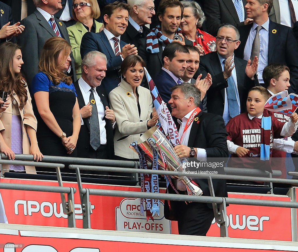 West Ham manager Sam Allardyce is congratulated by vice-chairman Karren Brady and Chairman David Gold after victory in the npower Championship Playoff Final between West Ham United and Blackpool at Wembley Stadium on May 19, 2012 in London, England.