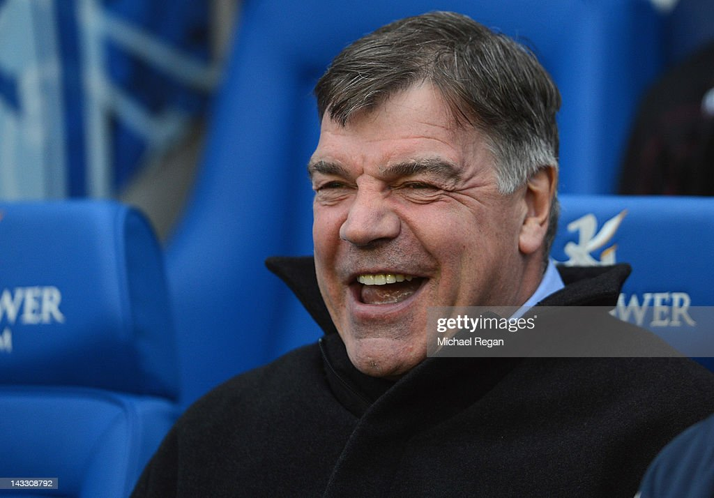 West Ham manager <a gi-track='captionPersonalityLinkClicked' href=/galleries/search?phrase=Sam+Allardyce&family=editorial&specificpeople=214691 ng-click='$event.stopPropagation()'>Sam Allardyce</a> laughs before the npower Championship match between Leicester City and West Ham United at The King Power Stadium on April 23, 2012 in Leicester, England.