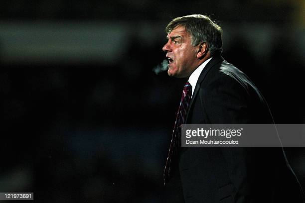 West Ham Manager Sam Allardyce screams instructions during the First Round Carling Cup match between West Ham United and Aldershot Town at Boleyn...