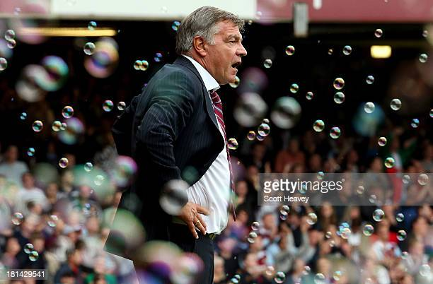 West Ham manager Sam Allardyceduring the Barclays Premier League match between West Ham United and Everton at the Boleyn Ground on September 21 2013...