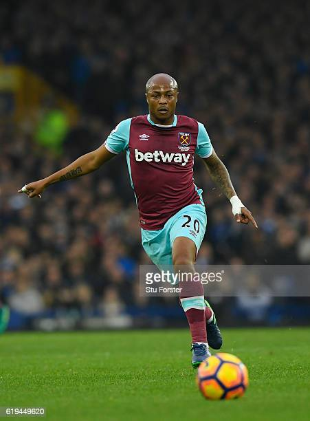 West Ham player Andre Ayew in action during the Premier League match between Everton and West Ham United at Goodison Park on October 30 2016 in...