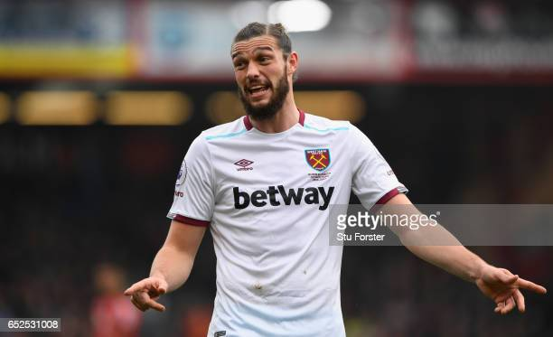 West Ham player Andy Carroll in action during the Premier League match between AFC Bournemouth and West Ham United at Vitality Stadium on March 11...