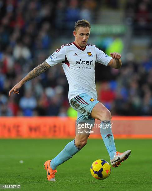 West Ham player Jack Collinson in action during the Barclays Premier League match between Cardiff City and West Ham United at Cardiff City Stadium on...